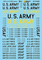 Microscale USAF And U.S. Army Lettering 1/72 Scale Model Railroad Decal #720031