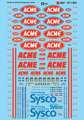 Microscale Inc ACME & Sysco Refrigerated Trailers -- HO Scale Model Railroad Decal -- #871453