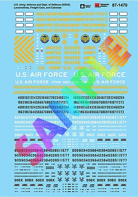 Microscale U.S. Army, Airforce & Dept. Of Defense Decal Model Railroad Train Decals #871470