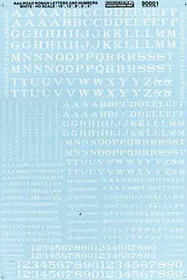 Microscale Alphabets & Numbers Railroad Roman White HO Scale Model Railroad Decal #90001