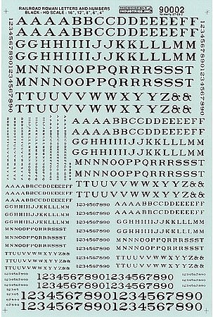 Microscale Alphabets & Numbers Railroad Roman Black HO Scale Model Railroad Decal #90002
