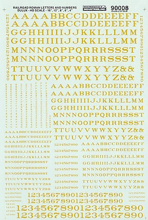 Microscale Alphabets & Numbers Railroad Roman Dulux Gold HO Scale Model Railroad Decal #90008
