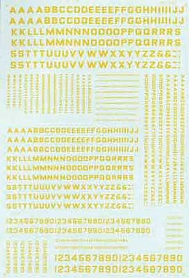 Microscale Alphabets & Numbers Block Gothic Yellow HO Scale Model Railroad Decal #90056