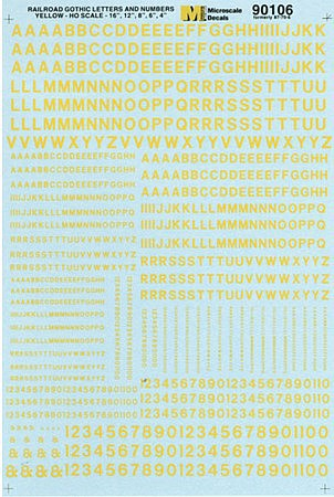 Microscale Alphabets & Numbers Railroad Gothic Yellow HO Scale Model Railroad Decal #90106