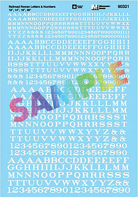 Microscale Railroad Roman Letters & Numbers 10, 14, 18, 20 (white) HO Scale Model Railroad Decal #90321