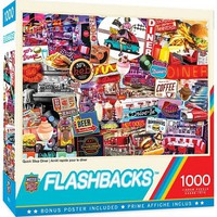 Masterpiece Flashbacks- Quick Stop Diner Signs Collage Puzzle (1000pc)