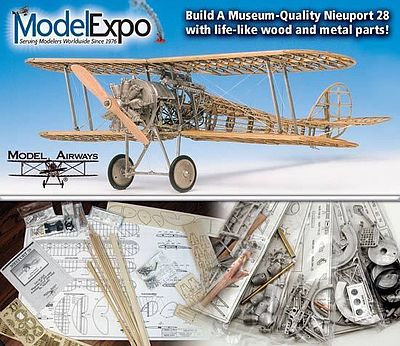 Model-Shipways Nieuport 28 Rickenbacker Model Airplane Kit 1/16 Scale #1002
