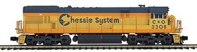 MTH-Electric O Hi-Rail U30C w/PS3, Chessie #3308