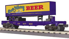MTH-Electric O-27 Flat w/40' Trailer, Our Navy Beer #2018