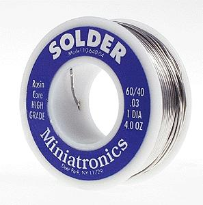 Miniatronics Corp. Rosin Core Solder 4oz. 60/40 -- Model Railroad Electrical Accessory -- #1064004