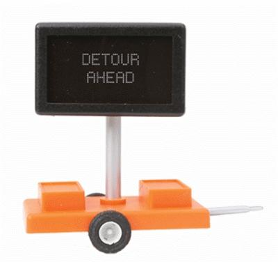 Miniatronics Detour Ahead Mobile Highway Sign w/Transformer O Scale Model Railroad Accessory #8550401
