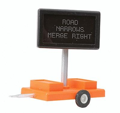 Miniatronics Road Narrows Merge Right Highway Sign w/ Transformer O Scale Model Railroad Accessory #8550501