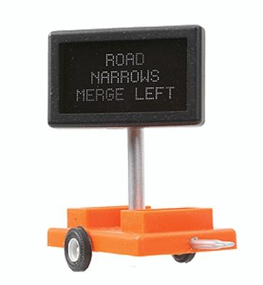 Miniatronics Road Narrows Merge Left Highway Sign w/ Transformer O Scale Model Railroad Accessory #8550601