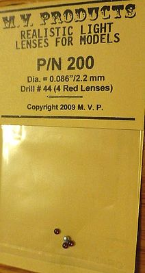 M V Products .086 Red (4) Headlight Set -- Miscellaneous Train Parts -- #200