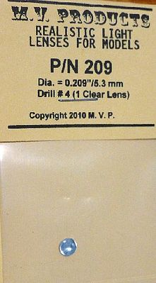 M V Products .209 Clear (1) Headlight Set -- Miscellaneous Train Parts -- #209