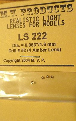 M-V-Products .063 Amber (4) Headlight Set Miscellaneous Train Parts #222