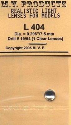 M-V-Products .296 Clear (1) for O Scale Headlights Miscellaneous Lighting Parts #404