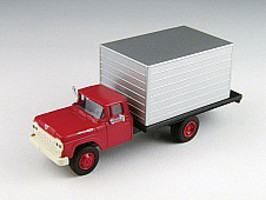Classic-Metal-Works 60 Ford Box Truck Red/Silver HO Scale Model Railroad Vehicle #30476