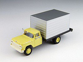 Classic-Metal-Works 60 Ford Box Truck Yellow/Silver HO Scale Model Railroad Vehicle #30478