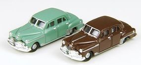 Classic-Metal-Works 1950 Plymouth 4-Door Sedan Brown & Green (2) N Scale Model Railroad Vehicle #50332