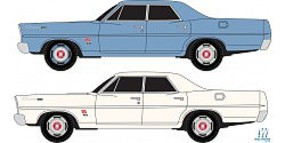 Classic-Metal-Works 67 Ford Sedans 2 pack Blue and White N Scale Model Railroad Vehicle #50355