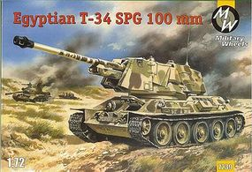 Military-Wheels-Mode T34 Egyptian 100mm Self-Propelled Gun Tank Plastic Model Military Vehicle 1/72 Scale #7239