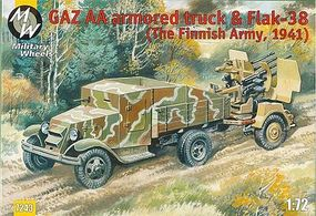 Military-Wheels-Mode WWII GAZ-AA Truck & Flak 38 Finnish Army 1941 Plastic Model Military Vehicle Kit 1/72 #7243