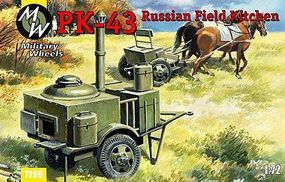 Military-Wheels-Mode Pk43 Russian Field Kitchen & 2 Horses Plastic Model Military Vehicle Kit 1/72 Scale #7256