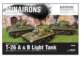 Minairons 1/100 Spanish Civil War- T26A/B Light Tank (5) (Plastic)
