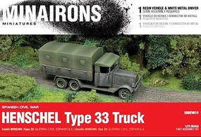Minairons 1/72 Spanish Civil War- Henschel Type 33 Truck (1) w/Driver (Resin)