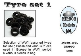 Mirror Assorted Tires Set 1 for WWII CMP/British Trucks (5) Plastic Model Truck Tires 1/35 #35000
