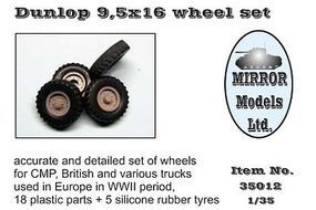 Mirror Dunlop 9 5x16 Wheel Set Plastic Model Vehicle Accessory 1/35 Scale #35012