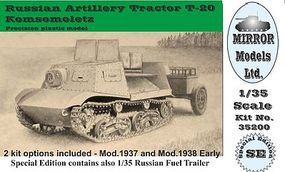 Mirror Russian Artillery Tractor T20 Komsomoletz Plastic Model Military Vehicle 1/35 #35200