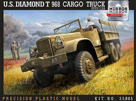 Mirror US Diamond T968 Cargo Truck with Open Cab Plastic Model Military Vehicle 1/35 Scale #35805
