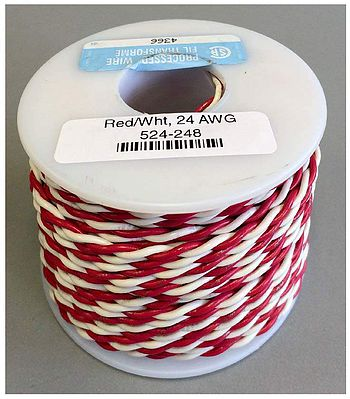 NCE Corporation 24 AWG Red and White 100' -- Model Railroad Hook Up Wire -- #248