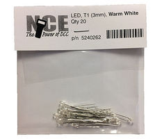 NCE LED 3mm Warm White (20) Model Railroad Light Bulb #262