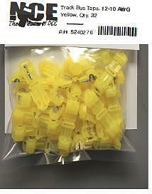 NCE Corporation Track Bus Taps Yellow (32) -- Model Railroad Electrical Accessory -- #276