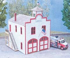 NE-Scale-Models Springfield Fire Station N Scale Model Railroad Building Kit #30023