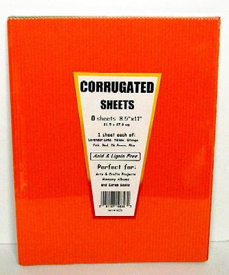 Niji Corrugated Cardboard Sheets- 8 Assorted Colors (8-1/2''x11'')