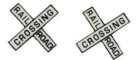 NJ Railroad Crossing Crossbucks Painted Brass N Scale Model Railroad Trackside Accessory #2261