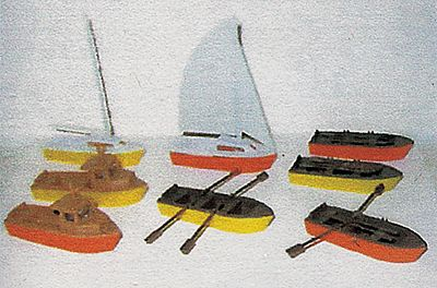 NJ Small Harbor Boat Set Kit HO Scale Model Railroad Accessory #6101
