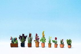 Noch Ornamental Plants in Flower Pots #2 pkg(9) HO Scale Model Railroad Accessory #14012