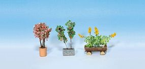 Noch Ornamental Plants in Flower Pots Set #1 (3) HO Scale Model Railroad Accessory #14014
