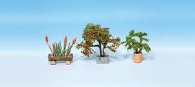 Noch 3 Ornamental Plants in Flower Pots (Set #4) HO Scale Model Railroad Tree #14020
