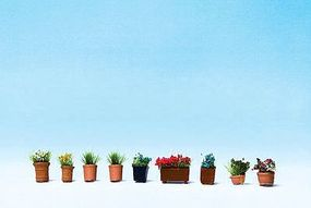Noch Flowers in Flower Pots (9) HO Scale Model Railroad Accessory #14031