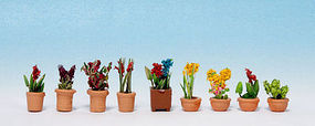 Noch Ornamental Plants in Flower Pots Kit #1(9) N Scale Model Railroad Accessory #14080