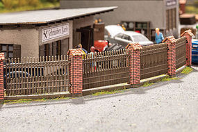 Noch Fence w/Brick Columns Kit HO Scale Model Railroad Building Accessory #14235