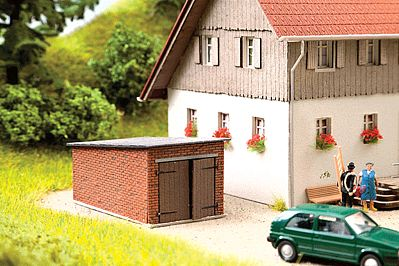 Noch GMBH & Co. 1-Car Brick Garage w/Angled Roof Kit -- HO Scale Model Building -- #14352