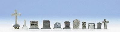 Noch GMBH & Co. Tombstones Set (11) -- HO Scale Model Railroad Accessory -- #14873