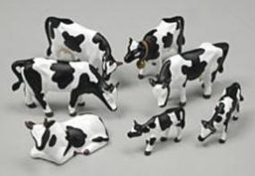 Noch Black & White Cows (7) HO Scale Model Railroad Figure #15721